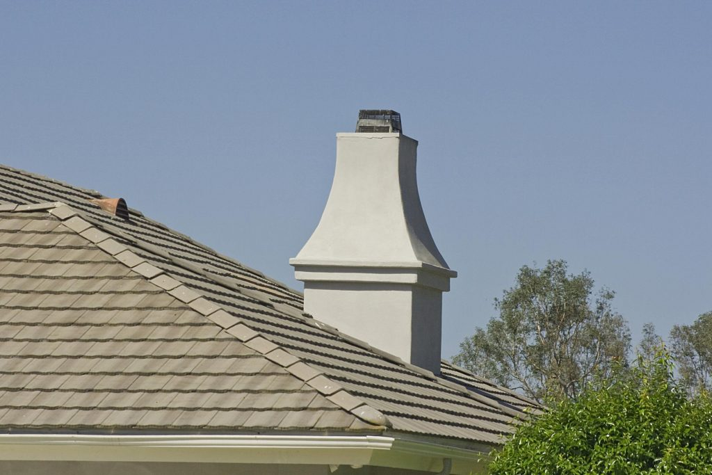 gray roof with chimney