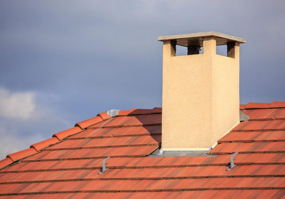 a red roof with chimney